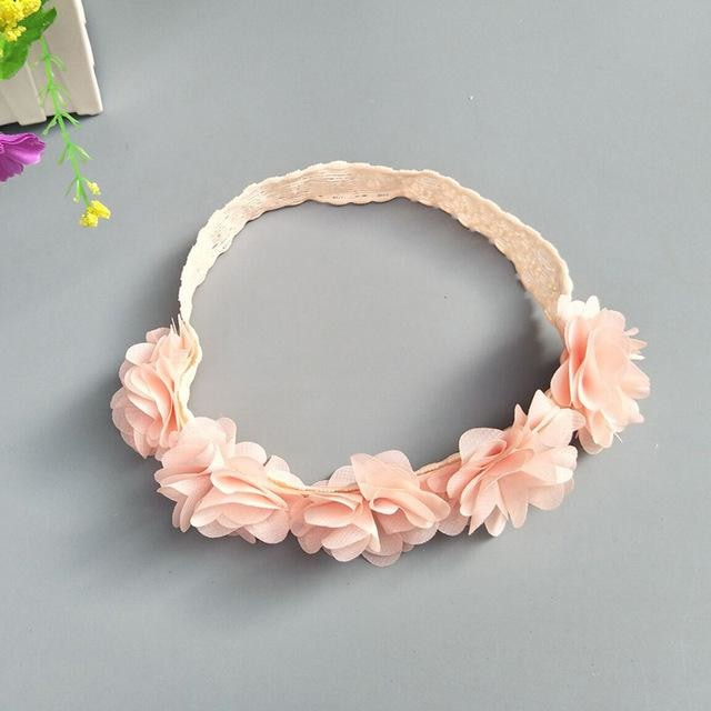 w. Baby Headband Flowers Girls Pink Ribbon Hair Bands Handmade Headwear Hair Elastic Tiara For Girl Newborn Babies Hair Accessories - Style