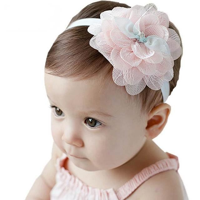 w. Baby Headband Flowers Girls Pink Ribbon Hair Bands Handmade Headwear Hair Elastic Tiara For Girl Newborn Babies Hair Accessories - style3