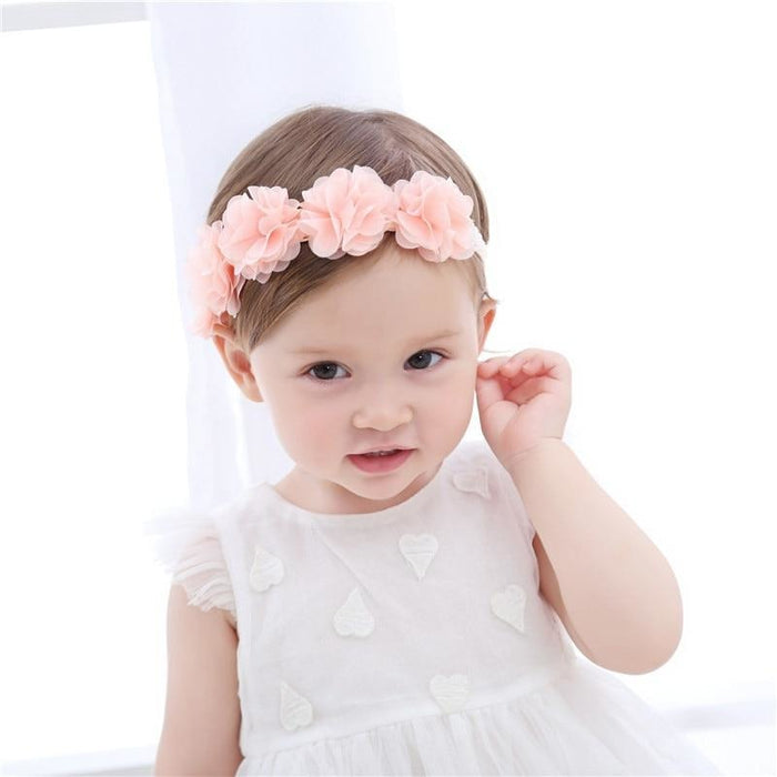w. Baby Headband Flowers Girls Pink Ribbon Hair Bands Handmade Headwear Hair Elastic Tiara For Girl Newborn Babies Hair Accessories
