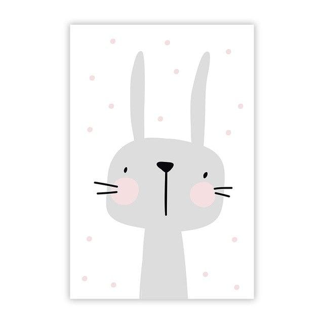 w. Cartoon Animal Cute Rabbit Minimalist Art Canvas Poster Painting Wall Picture Print Modern Home Kid Room Living Decor No Frame - 13X18cm