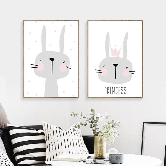 w. Cartoon Animal Cute Rabbit Minimalist Art Canvas Poster Painting Wall Picture Print Modern Home Kid Room Living Decor No Frame