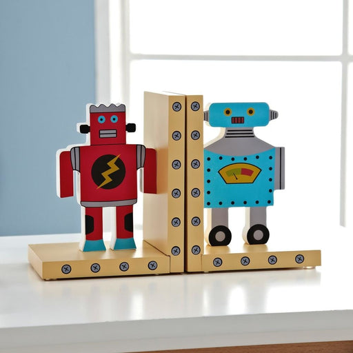 w. Cartoon Robot Decorative Bookends Book End Shelf Bookend Holder Supplies Kid Study Decorate Furnishing Articles