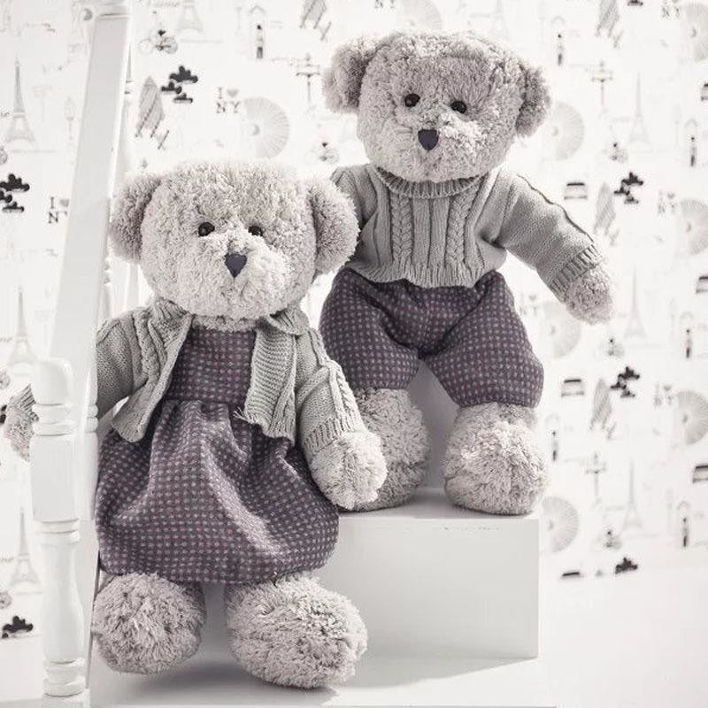 w. Christmas Toys for Children Stuffed Animal Teddy Bear Plush Toy with Sweaters Boy Girl Couples Style Sleeping Doll 45cm 55cm