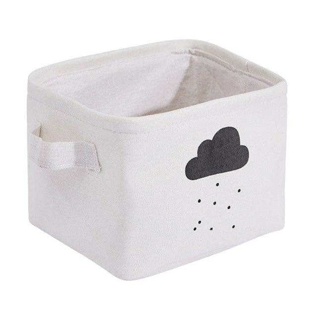 w. Cotton Linen Desktop Storage Bag Cartoon Pattern Storage Baskets Home Storage Basket with Small Handle for Sundries Clothing - One Size /