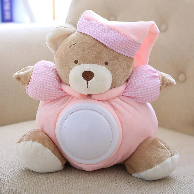 w. Cute Teddy Bear Musical Light Plush Dolls Pat Lamp Sleeping Comfort LED Night Light Appease Bear Toys for Children Gifts 25cm - Pink