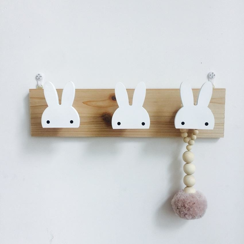 w. Cute wooden bunny hook rail