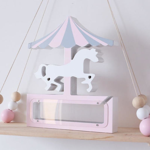 w. D Ins Nordic wooden carousel horse Money Boxes Wood Kid Go Round Toy Unicon wood Money Cans Toys Living Room Decor Piggy Bank