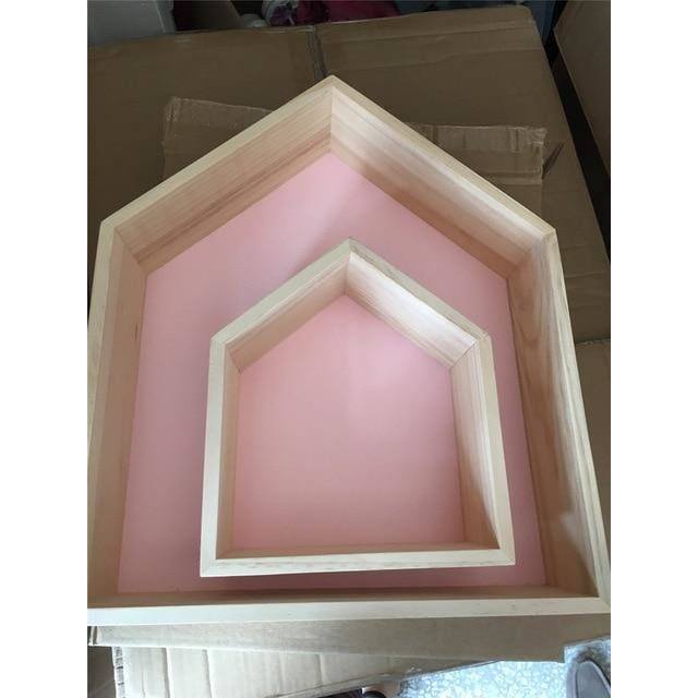 w. Double layer wooden house - pink