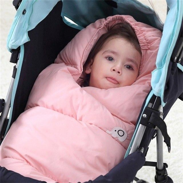 w. EASY BIG Winter Down Cotton Baby Sleeping Bag Windproof Thickening Warm 0-36M Baby Footmuff BCS0026 - Pink / 3M
