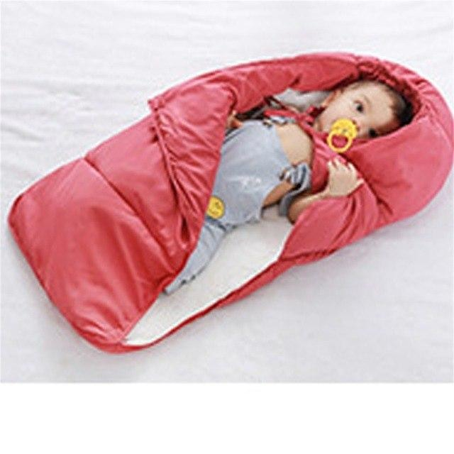 w. EASY BIG Winter Down Cotton Baby Sleeping Bag Windproof Thickening Warm 0-36M Baby Footmuff BCS0026 - Red / 3M