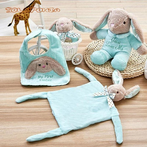 w. Hot! 4 pcs baby care set animal rattle bib doll comfort towel infant toys sets for newborns baby toys sonajero bebe BB175