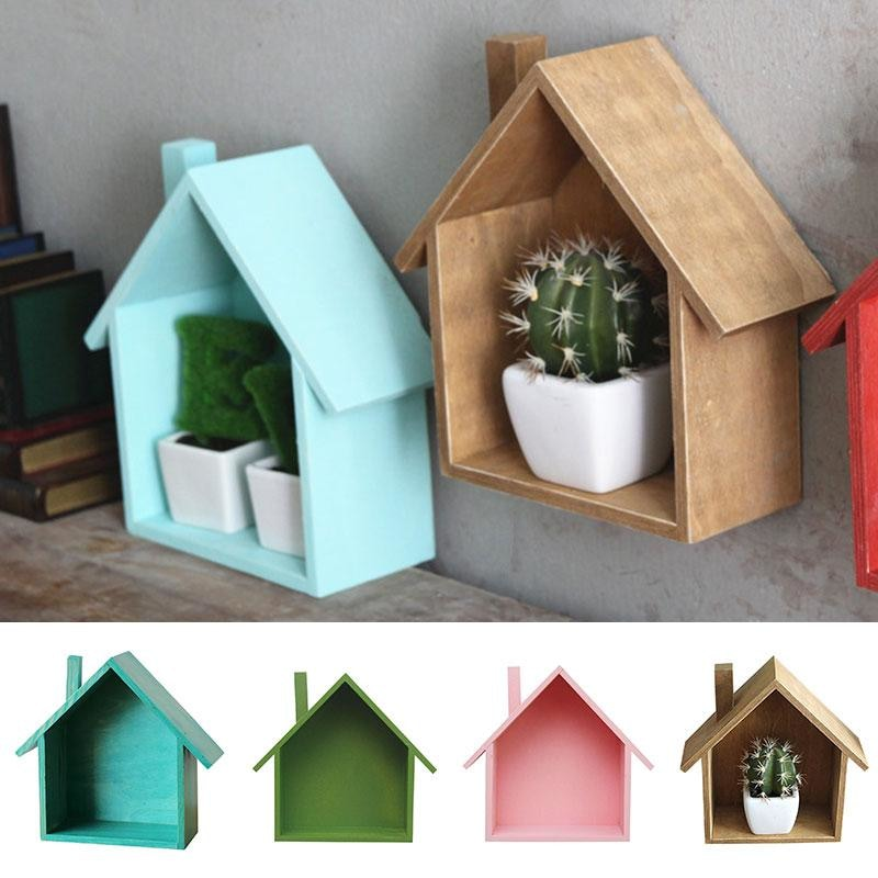 w. House Shaped Wood Organizer Box Wall Mounted Shelf Tabletop Storage Box Cubby Eco-Friendly Bag for Home Bedroom Storage Creative
