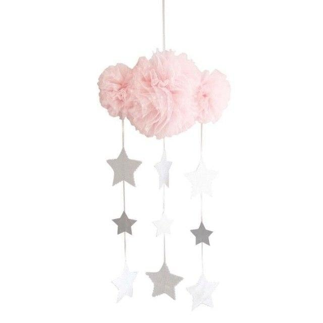 w. INS Nordic Mesh Yarn Cloud With Star Garland Kids Room Decoration Ornaments Wall Tent Hanging Pendant Nursery Decor Photo Props - Pink