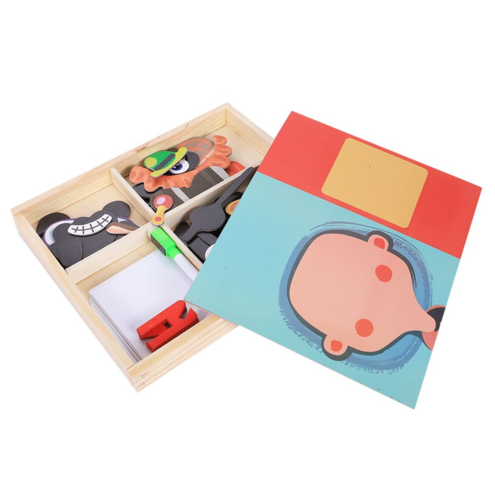 w. MWZ magnetic fun jigsaw children wooden puzzle board box pieces games cartoon educational drawing baby toys for girls boys Pe