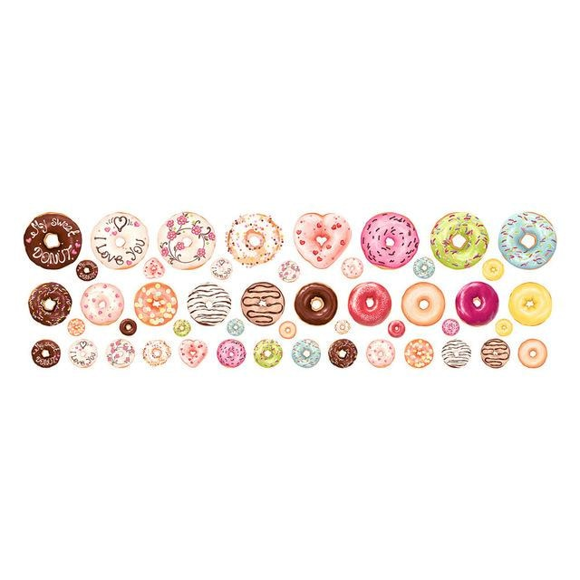 w. New Fashion Home Wall Stickers Cute Donut Decal Nursery Decal Christmas Decoration Home Decorations Girls Room Stickers 48 Count - Multi