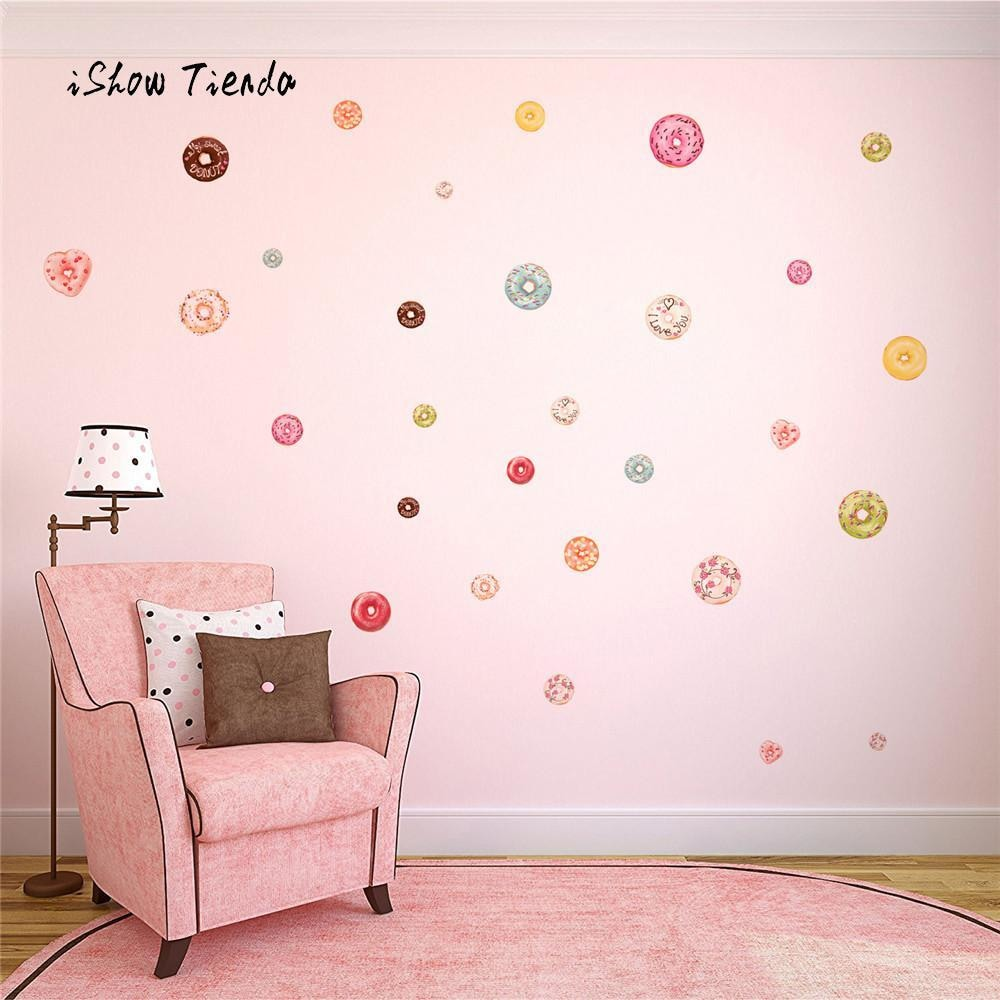 w. New Fashion Home Wall Stickers Cute Donut Decal Nursery Decal Christmas Decoration Home Decorations Girls Room Stickers 48 Count