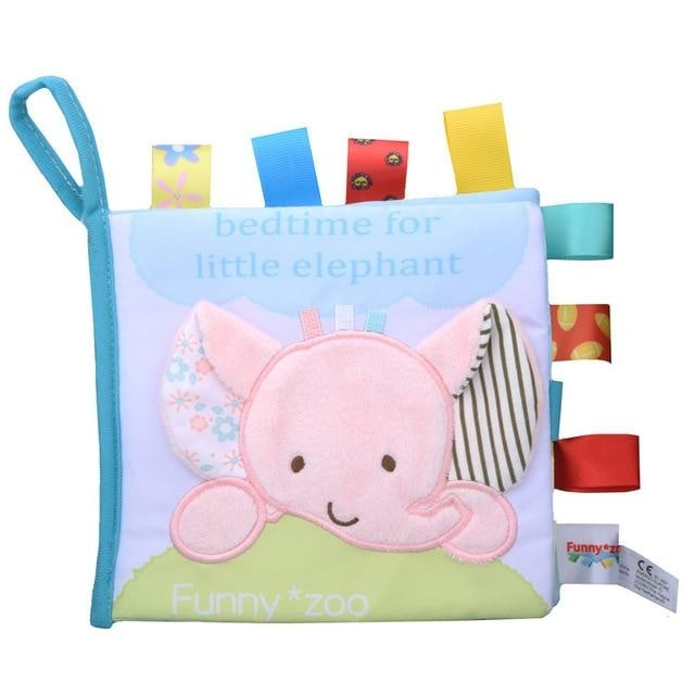 w. Soft 3D Baby Cloth Book Newborn Early Educational Quiet Book Infant Cognitive Can Bite Reading Matter Ring Paper Rattles Book - Elephant