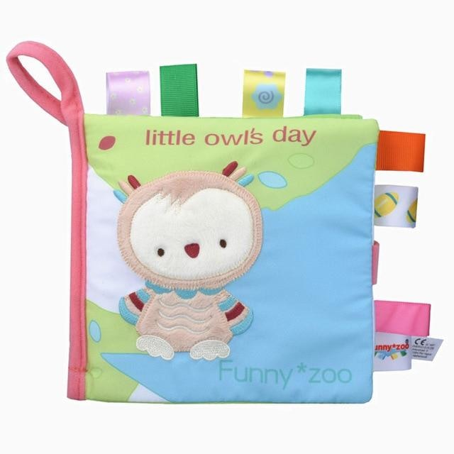 w. Soft 3D Baby Cloth Book Newborn Early Educational Quiet Book Infant Cognitive Can Bite Reading Matter Ring Paper Rattles Book - Owl book