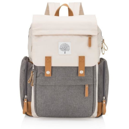 White & Gray Cotton Changing Backpack