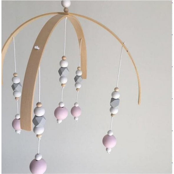 Wooden Beads Wind Chimes - White gray pink