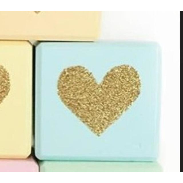 Wooden Glittering Heart Block - 1pc light blue / 5X5X5CM
