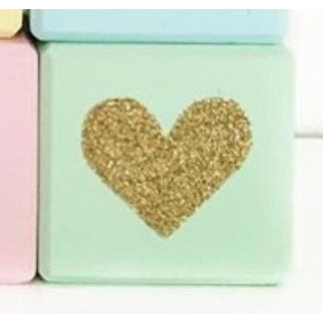 Wooden Glittering Heart Block - 1pc Mint Green / 5X5X5CM