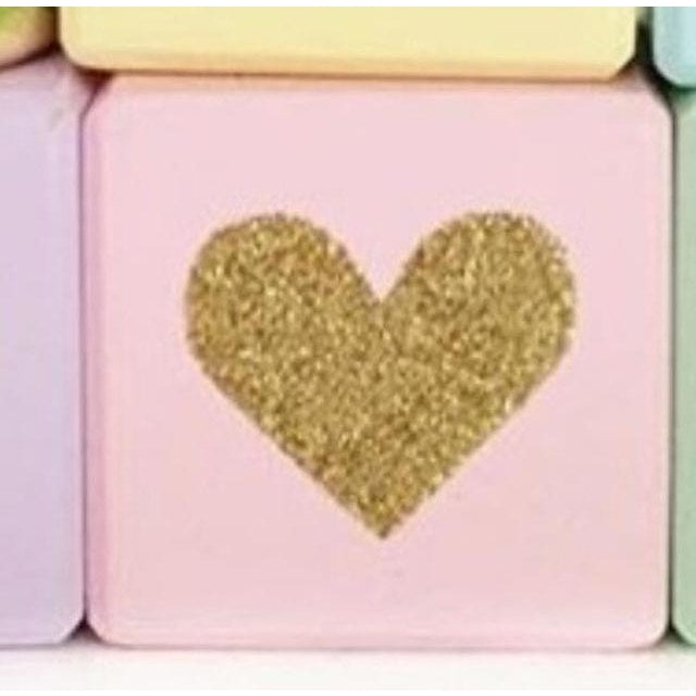 Wooden Glittering Heart Block - 1pc pink / 5X5X5CM