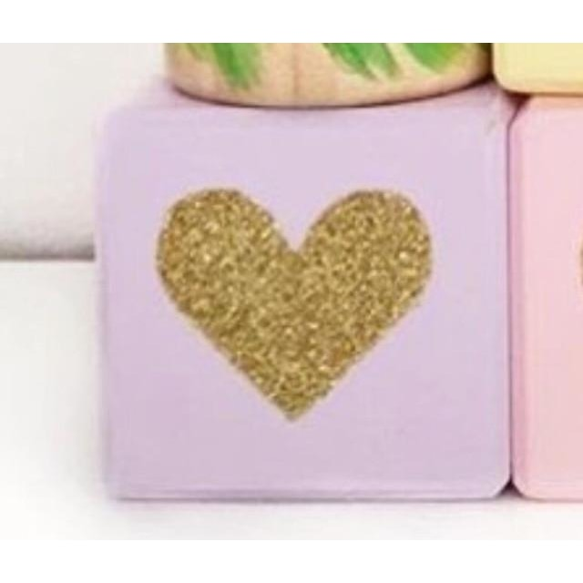 Wooden Glittering Heart Block - 1pc purple / 5X5X5CM