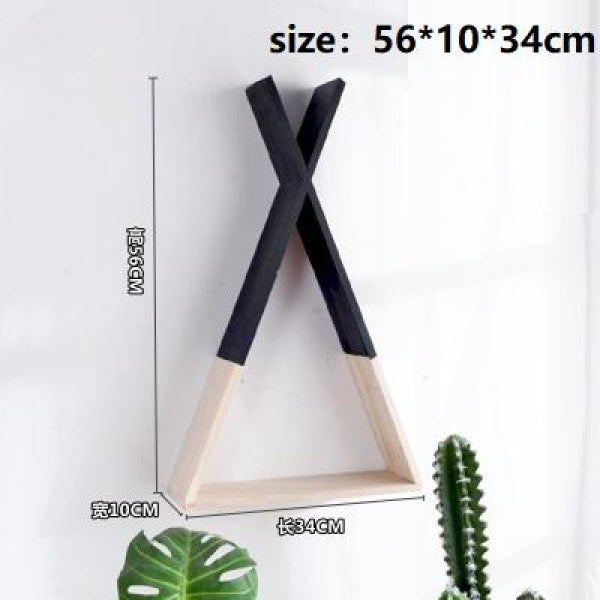 Wooden Triangle Shelf - Black