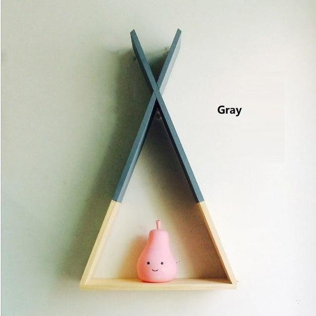Wooden Triangle Shelf - Gray