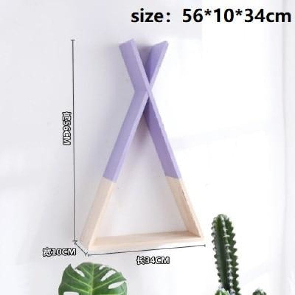 Wooden Triangle Shelf - Violet