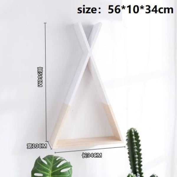 Wooden Triangle Shelf - White