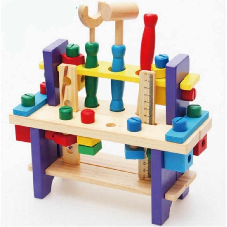 Wooden Workbench Toy with Tools