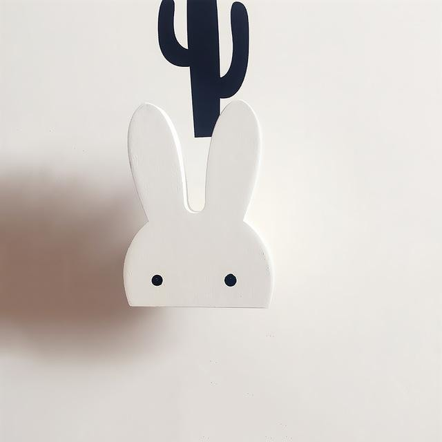 z. Wooden Bunny Hooks - Whie Rabbit