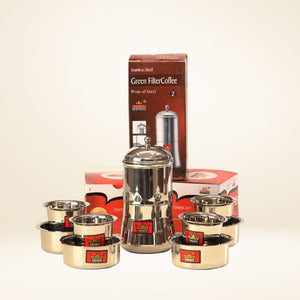 One (1) coffee maker and four (4) tumbler set in stainless steel