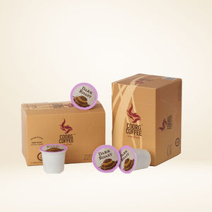 Single serve coffee pods in dark roast, each box contains 12 pods.