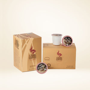 Single serve coffee pods in medium roast, each box contains 12 pods.