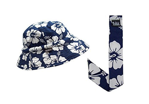 Cooling Floppy HatBandoo, Size L/XL & Neckbandoo Set. Navy Tropical Print. UPF 50+ Excellent Sun Protection. Reversible And Crushable. Cool Travel Hat. - Blubandoo