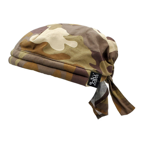 Cooling Bandoorag Skull Cap | Doo Rag | Desert Camo | Water Activated with Cooling Crystals | Hand Washable And Reusable | Unisex