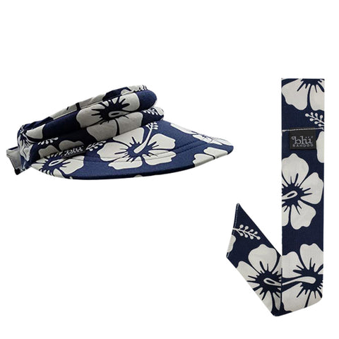 Cooling Navy Tropical Bandoobrim With Matching Neckbandoo | Water Activated Cooling | Navy Tropical 2 Pc. Value Set | Unisex