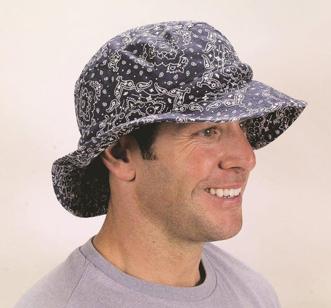 Water Activated Evaporative Cooling | Navy Bandana Floppy Hatbandoo | With Crystals - Blubandoo