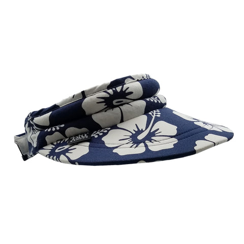 Water Activated | Bandoobrim Visor | Navy Tropical | With Cooling Crystals | 1 Pc | Hand Washable And Reusable | Reversible | Unisex - Blubandoo