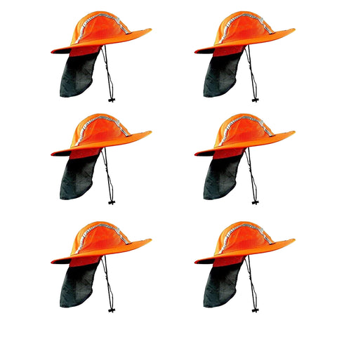 Red/Orange Sun Safety Hatbandoo S/M | ANSI Hi-Vis | Contains Water Activated Cooling Crystal | 6 Pc. Value Set