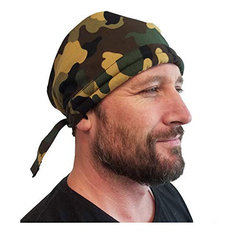 Water Activated | Bandoorag Skull Cap| Army Camouflage | with Cooling Crystals | 1 Pc | Hand Washable And Reusable | Unisex - Blubandoo