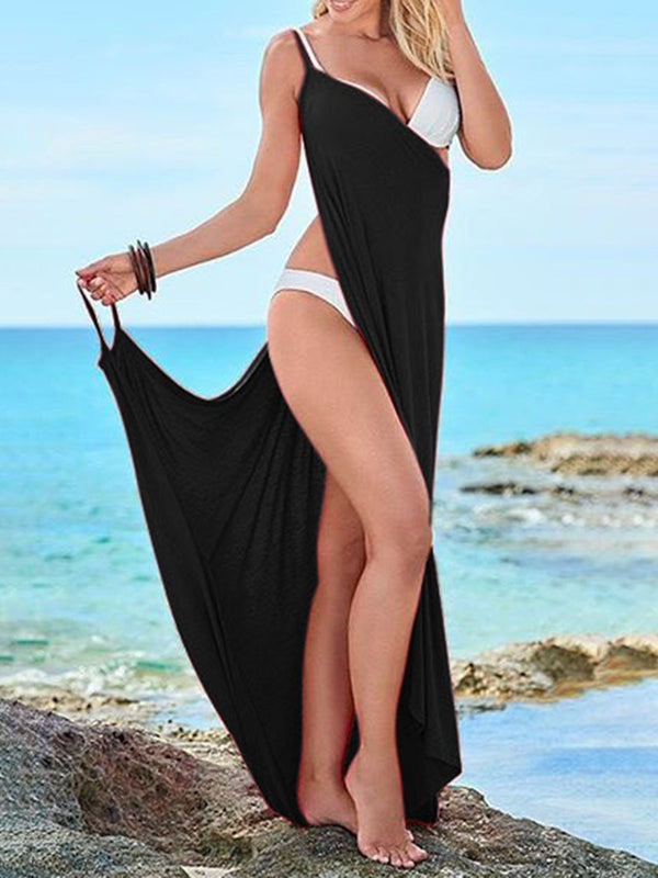 Summer V Neck Asymmetrical Beach Dresses