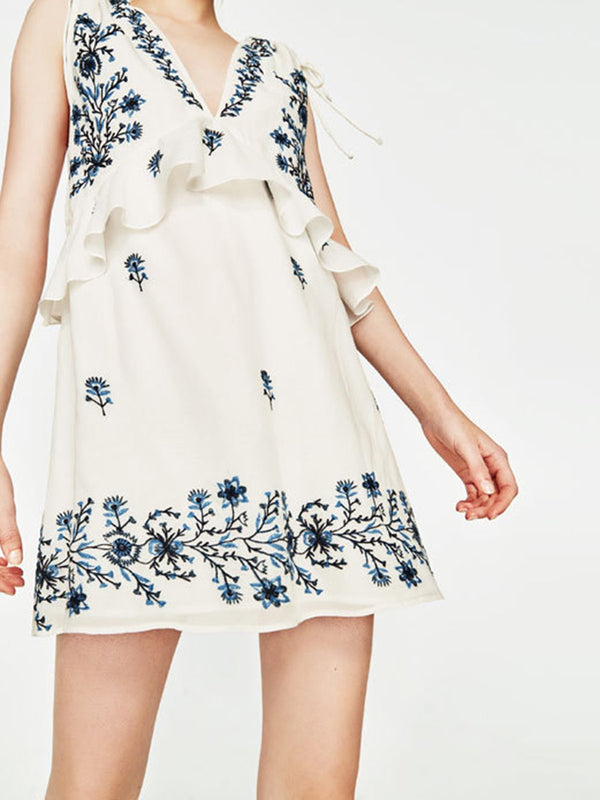 White Floral-embroidered A-line V Neck Casual Mini Dress
