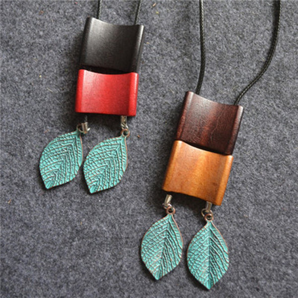 Geometric Wooden Copper Green Leaves Pendant Long Necklace