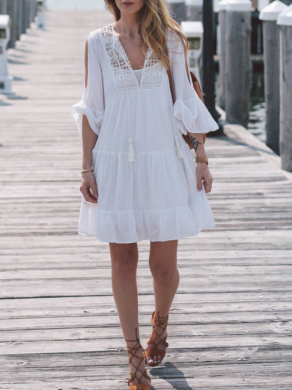 Solid 3/4 Sleeve Off Shoulder Crocheted Beach Mini Dress