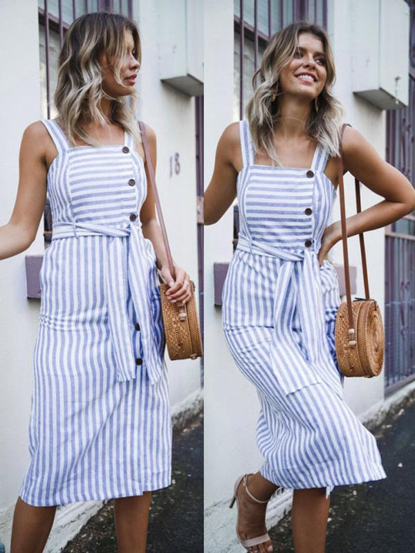 Button Decorative Stripe Stitching Open-topped Dress