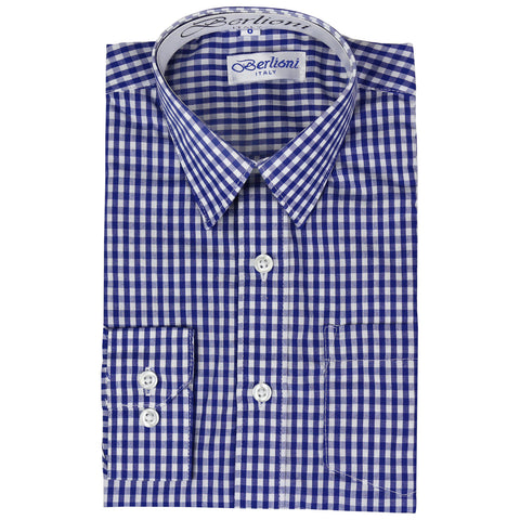 Boy's Checkered Dress Shirt | N°AW-1087-3 | Royal Blue